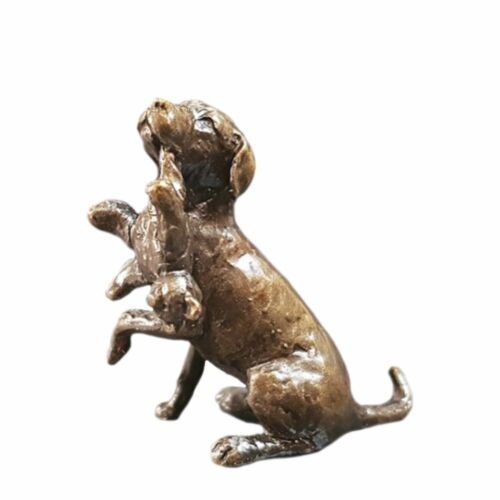 Labrador Dog with Teddy Bronze Miniature Sculpture Butler /& Peach