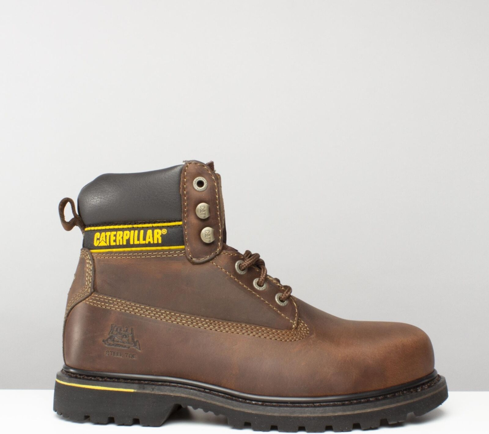 Caterpillar HOLTON Mens Oil Heat Resistant Welted Leather Safety botas marrón New