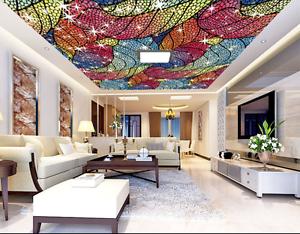 3D colord Leaves 73 Ceiling WallPaper Murals Wall Print Decal Deco AJ WALLPAPER