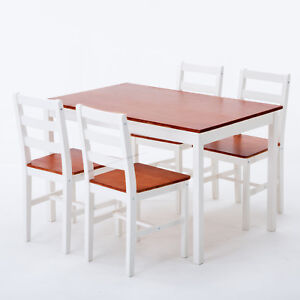 Image Is Loading Mecor Pine Wood Dining Table And 4 Chairs