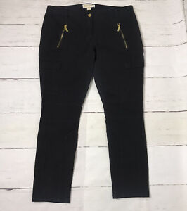 Pantalones Tipo Cargo Para Mujer Michael Kors Bolsillos Con Cremallera Oro Negro Tamano 12 Ebay