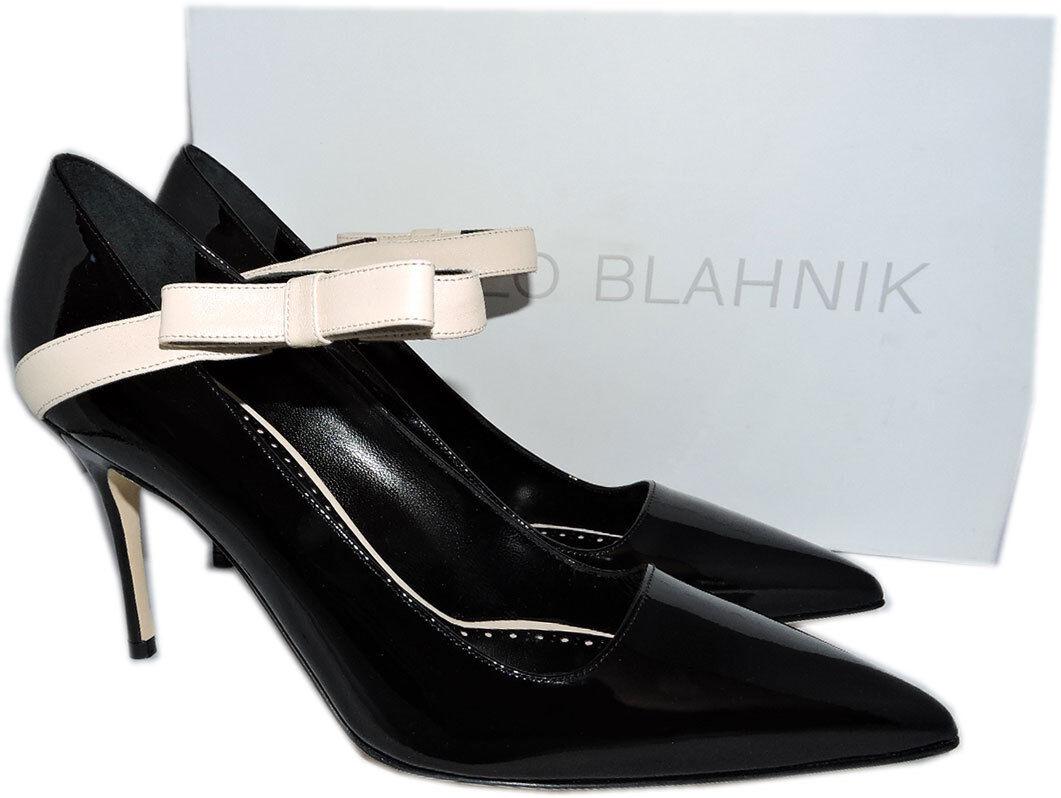 Manolo Blahnik Blahnik Blahnik Immaculada in Vernice Nera Mary Jane Décolleté Punta a chaussures 40 29ad49
