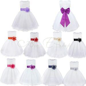Girls-Kids-Sash-Formal-Wedding-Bridesmaid-Party-Christening-Dress-For-Age-2-14Y