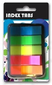 Neon-Index-Tabs-Case-Plastic-School-Office-Adhesive-Sticky-Page-Markers-Bookmark