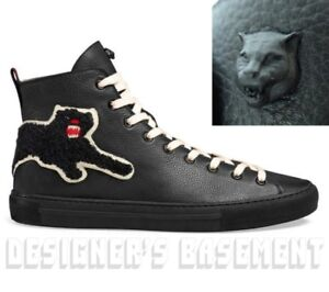 48d6717351d GUCCI 8.5G black leather PANTHER Angry Cat MAJOR high top Sneakers ...