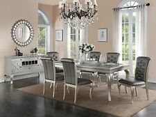 Traditional 7pc Dining Set Dining Table Chairs Silver Finish