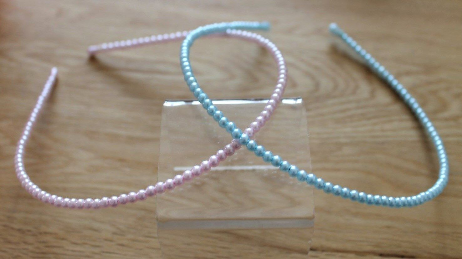2 Pearl Hairbands Alice Band Bridesmaid Flower Girl Communion * Pinks & Blues