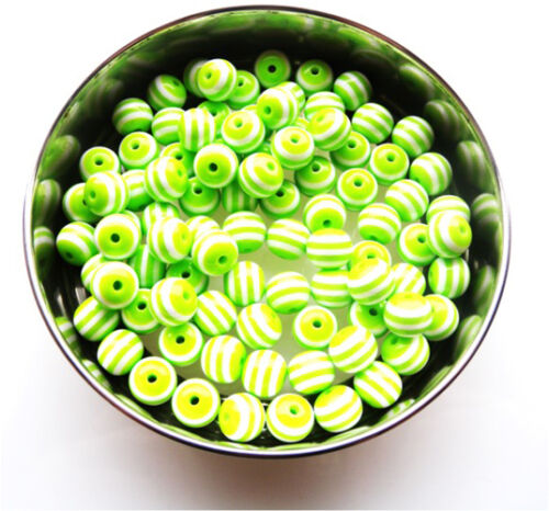 GORGEOUS HIGH QUALITY GREEN STRIPED ROUND BEADS 10MM 8MM FAST FREE P/&P 6MM