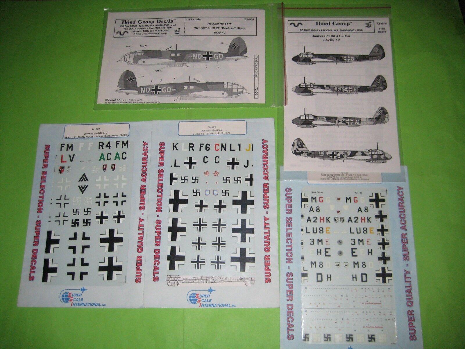 LUFTWAFFE BOMBERS WW II DECALS SET 1 72 SCALE - SUPER KOMBO SET