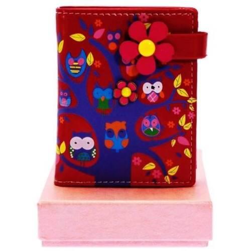 Coffret Cadeau Tree /& Hiboux Sac à main en cuir synthétique en noir ou rose rouge # 098s