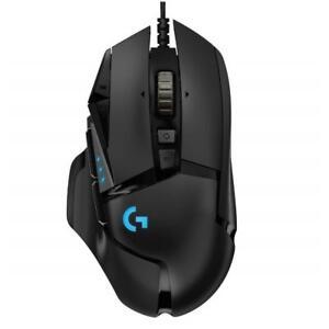 Logitech-G502-HERO-Black-Optical-Gaming-Mouse-RGB-LED-Wired-USB-16000-DPI-Light