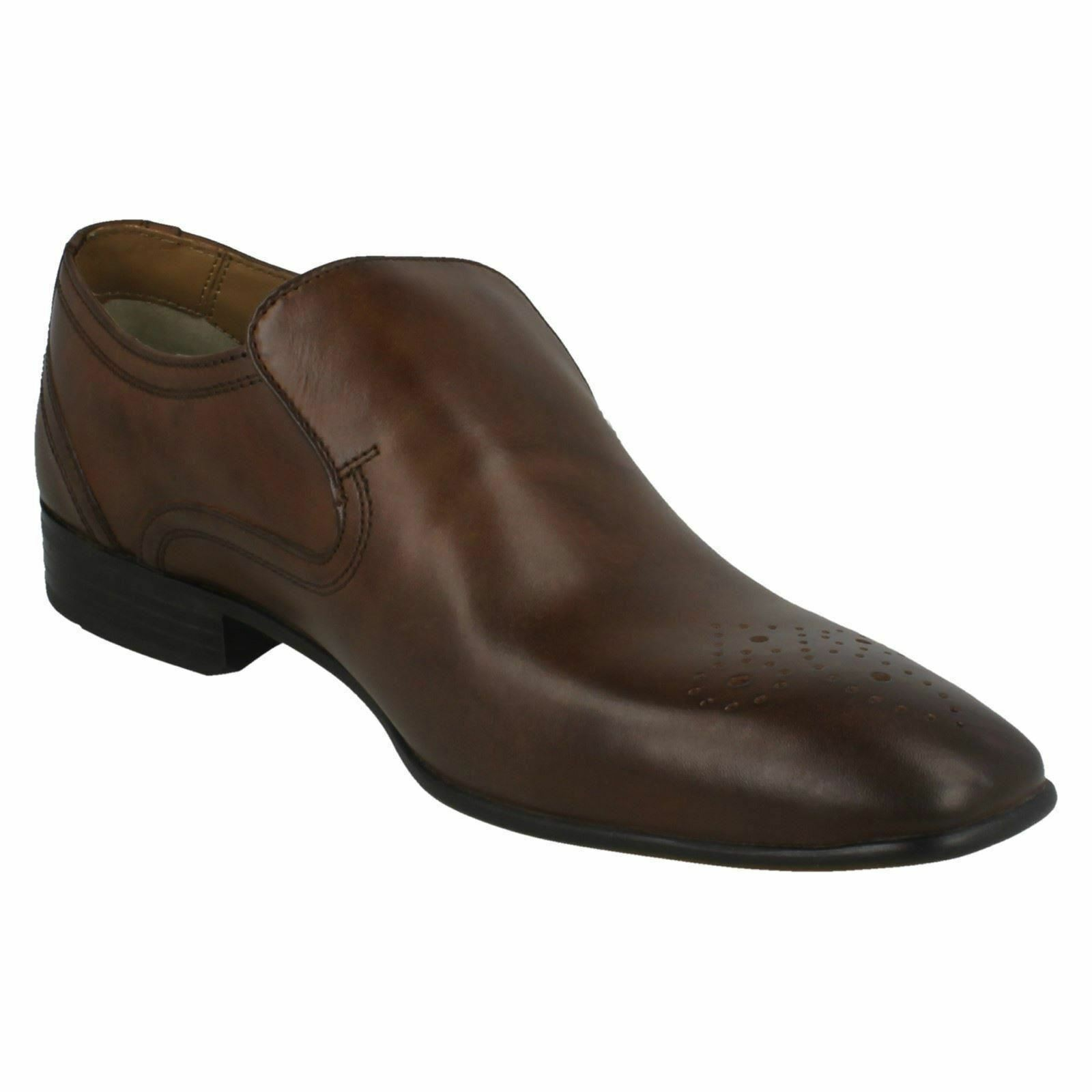 Mens Base London Era MTO Waxy Brown Or Black Leather Smart Slip On Shoes