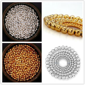 Jewelry-Findings-Silver-Gold-Plated-Round-Spacer-Smooth-Loose-Beads-Charms-Hot