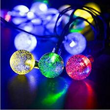 30x Palla Fata Luci multicolore LED 6m Solare Giardino Pensile Filo Di Luci