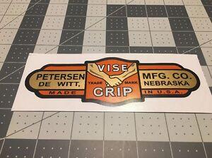 Vise-Grip-Petersen-DeWitt-vintage-1940-039-s-style-decal-6-1-2-034-orange-gold-toolbox