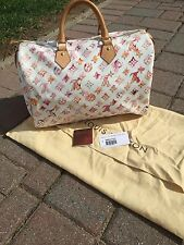 Louis Vuitton Aquarelle White Watercolor Monogram Speedy 35 Satchel