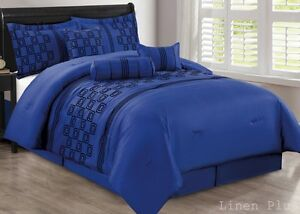 7 Piece Faux Silk Blue Black Flocked Comforter Set King Size New