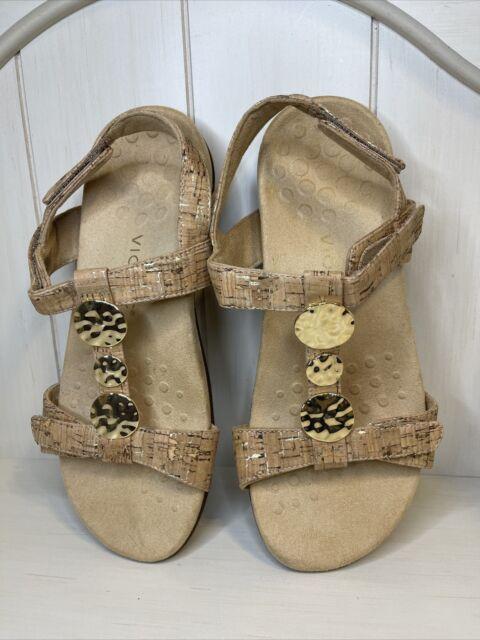 VIONIC Shoes Women's Size 10 Wide Gold Cork Farra Sandals Slides