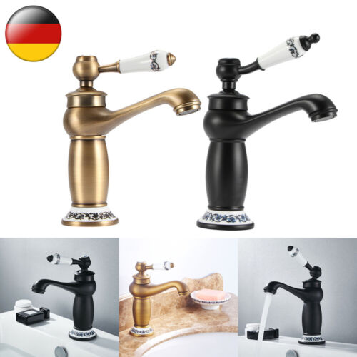Antikes Messing Wasserhahn Bad Waschbecken Waschtisch Armatur Einhebelmischer DE
