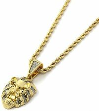 Mens 14k Yellow Gold Plated 24in Stardust Mini Lion Face Rope Chain Necklace 3mm