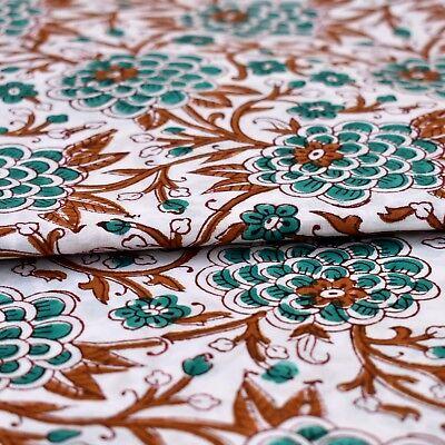Indian Handmade Sanganeri Vintage Hand Block Print Cotton Fabric 5 Yard Floral