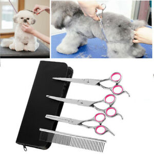 7-034-Professional-Pet-Dog-Grooming-Scissors-Set-Straight-amp-Curved-amp-Thinning-Shears-Kit