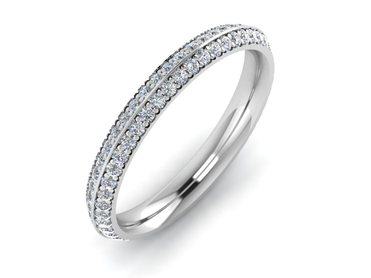 F SI 1.00ct Round Brilliant Cut Diamonds Full Eternity Ring in gold & Platinum
