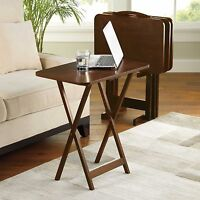 5 Piece Tray Table Set Folding Wood Tv Game Snack Dinner Couch Laptop Stand