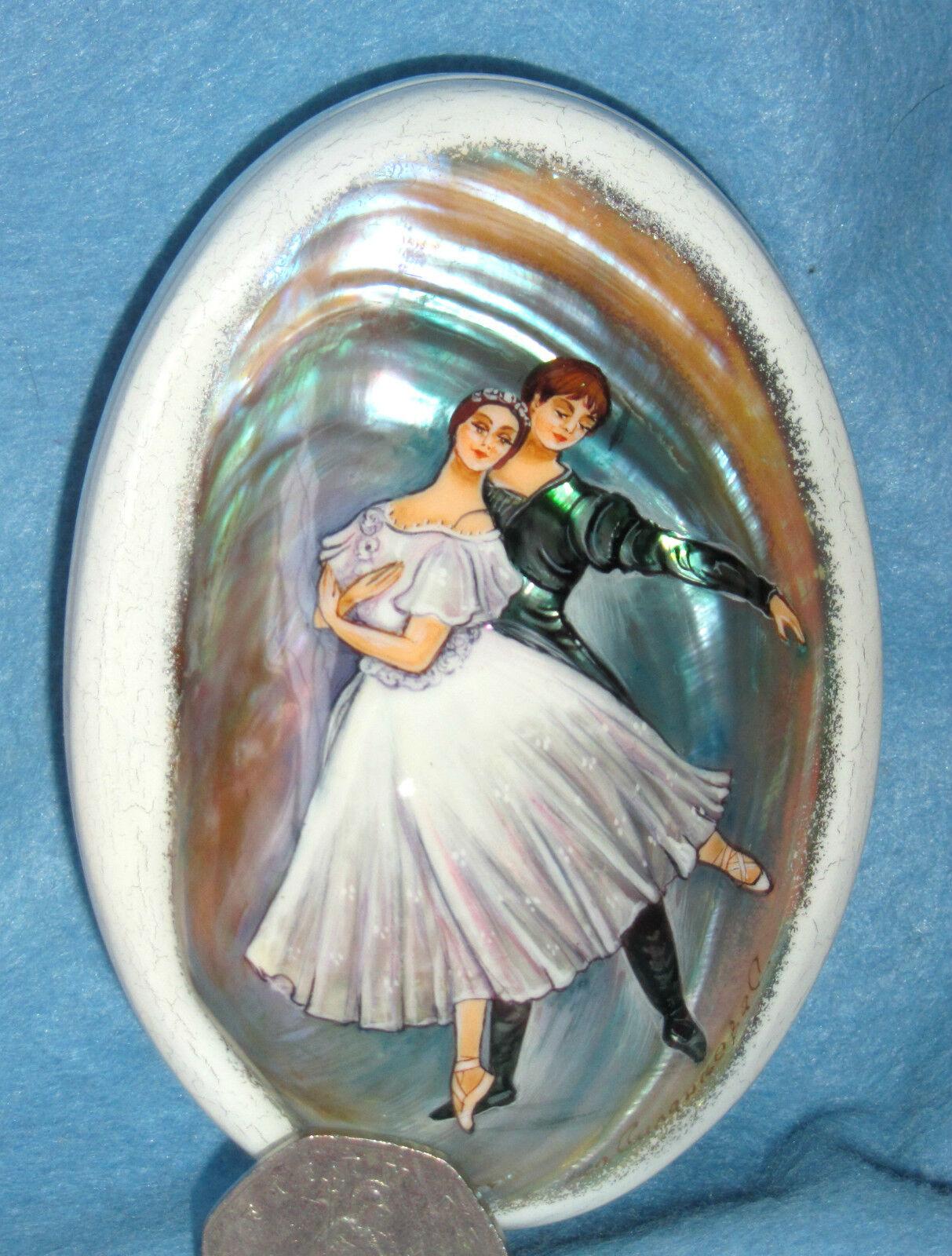 Rusa Pequeña carcasa pintada a Mano Laqueado CONCHA CAJA Ballet Ballet CAJA bailarines e00826