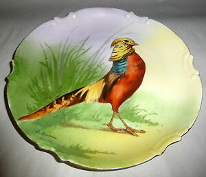 Golden Pheasant 1906 Limoges Coronet Signed & Hand Painted 10\