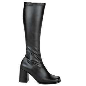 Ellie GOGO Black MATTE Faux Leather 3 inch Gogo Boots Zipper