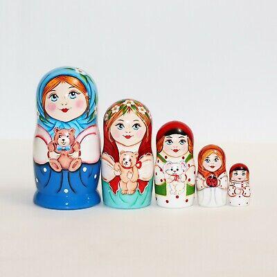 Russian nesting doll for kid child with teddy bear handmade matryoshka gifts