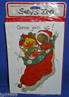 Suzy's Zoo Christmas Party Invitations 1982 Suzy Jack Corky Emily Pkg Of 10 Nip
