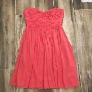 431f63b4a07 J. Crew Marbella Strapless Dress Coral Silk Chiffon  228 womens Size ...