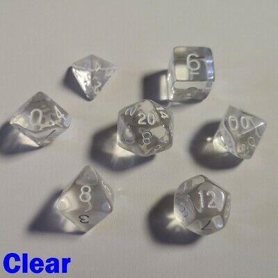Gem Poly 7 Dice RPG Set Clear Pathfinder 5e Dungeons Dragons D/&D DND Role Play