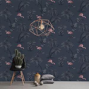 flamant rose lac papier peint bleu nuit holden 12382. Black Bedroom Furniture Sets. Home Design Ideas