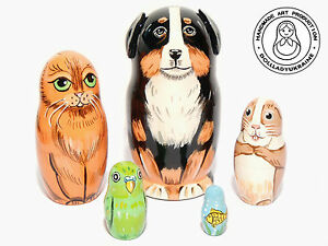 Home-Pets-Nesting-doll-5-pcs-Matryoshka-4-25-in-Dog-Cat-Parrot-Gold-Fish