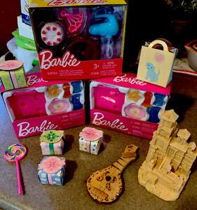 Barbie-Doll-Dollhouse-Miniature-Food-Kitchen-Set-Lot-Plus-Mini-Sandcastle