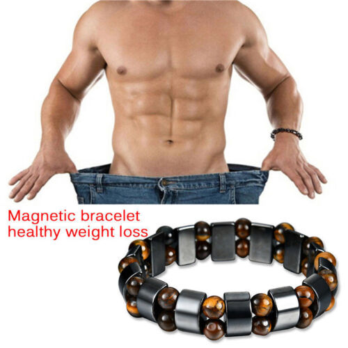 Noir Magnétique Bracelet Hématite Pierre Thérapie Soins De Santé perte de poids Bijoux
