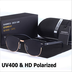Fashion Retro Polarized Sunglasses Semi Rimless Vintage Mirrored Eyewear UV400