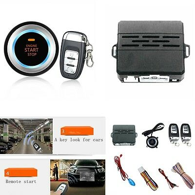 Car Alarm System Security Audible Alarm Ignition Engine Start Push Button Remote