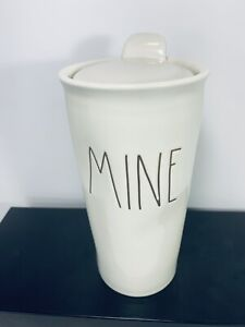 Rae-Dunn-MINE-Coffee-Tumbler-Travel-Ceramic-Mug-Cup-W-Lid-by-Magenta
