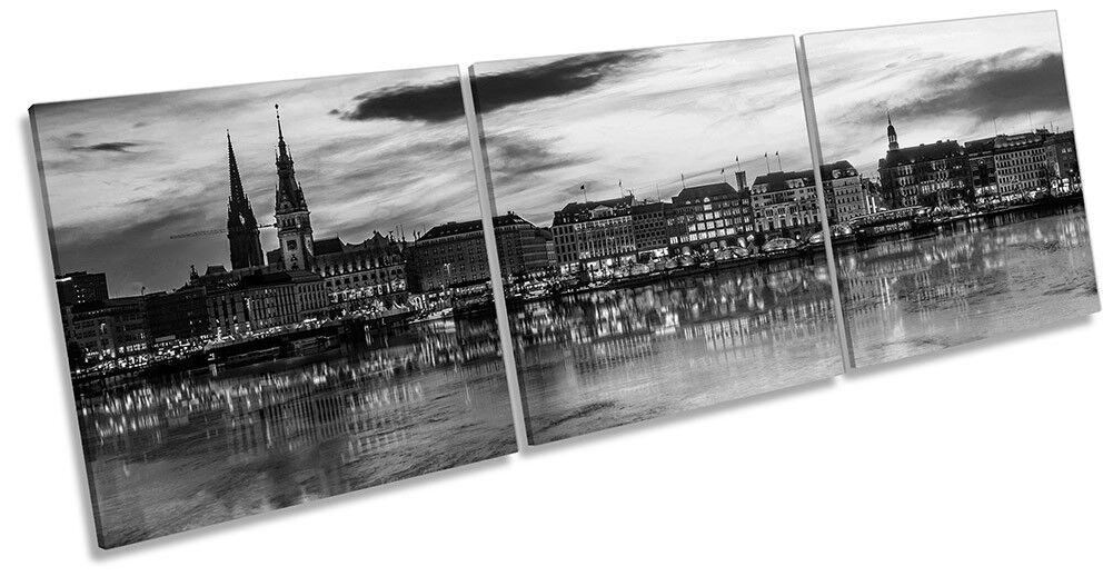 Hamburg Skyline City B&W Framed CANVAS PRINT Triple Wall Art