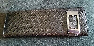 GUIDI Italian Made Black Patent Snakeskin Embossed Leather Zip Around Wallet