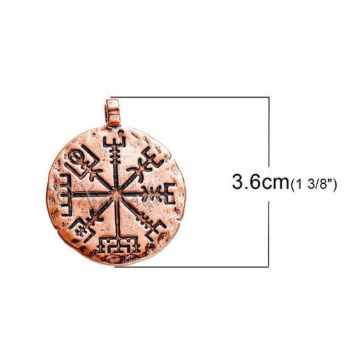 Viking Vegvísir Compass 36mm Antiqued Copper Pendant C2803-1 2 Or 5PCs