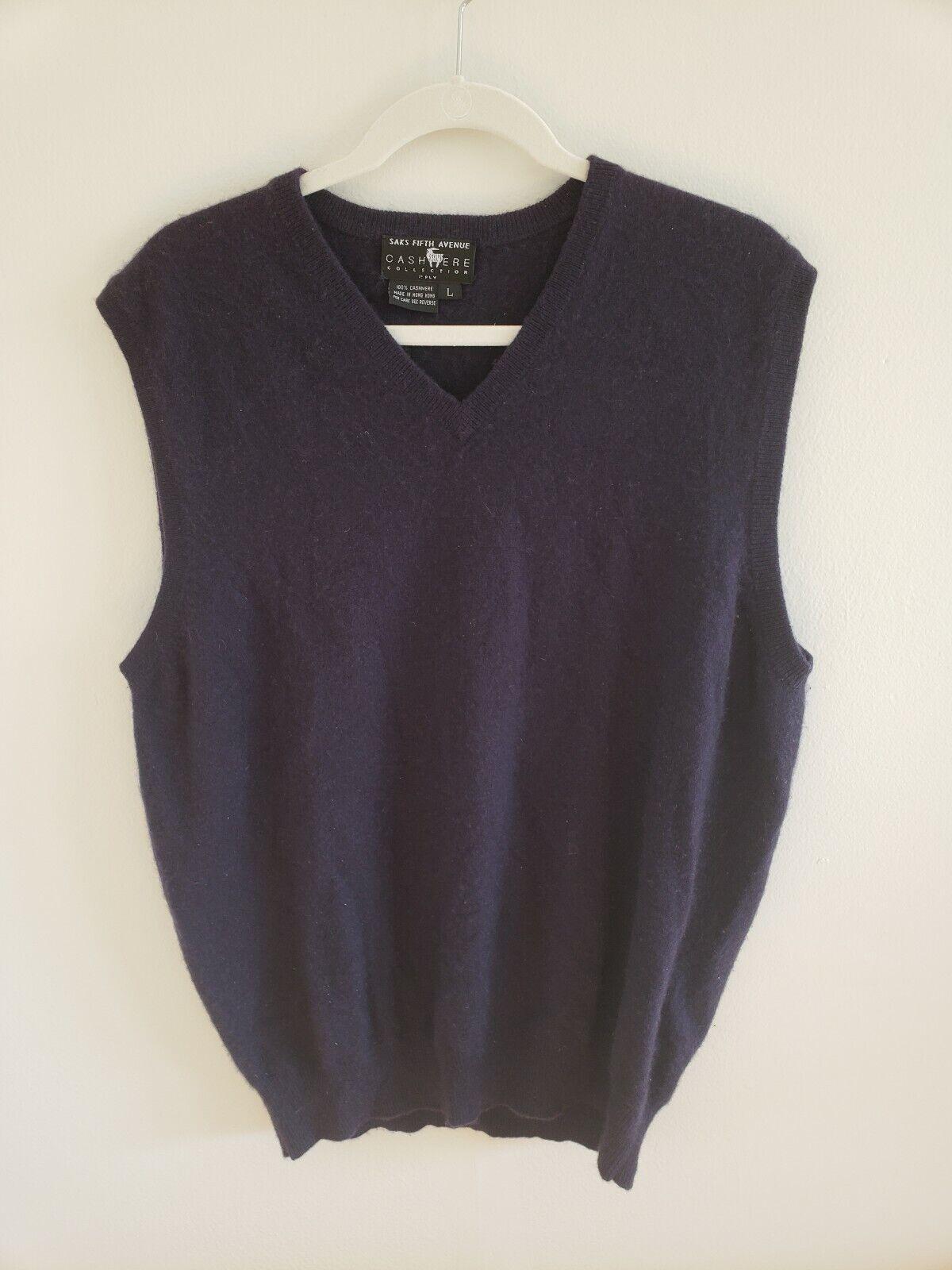 Vintage Mens SAKS FIFTH AVENUE 100% Pure Cashmere Sweater Vest Navy bluee Large L