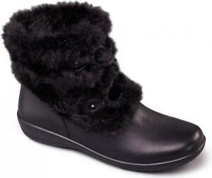 0ee0e0a1ffc7 Padders KIM Ladies Womens Leather Extra Wide Fit Faux Fur Trim Ankle ...