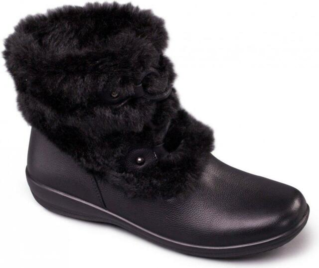 ac8a82f2c45 Padders KIM Ladies Womens Leather Extra Wide Fit Faux Fur Trim Ankle Boots  Black