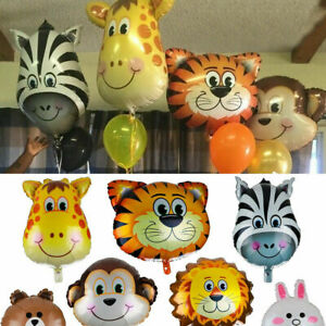 1//6Pcs Animal Head Foil Helium Balloons Baby Shower Birthday Party Decorations