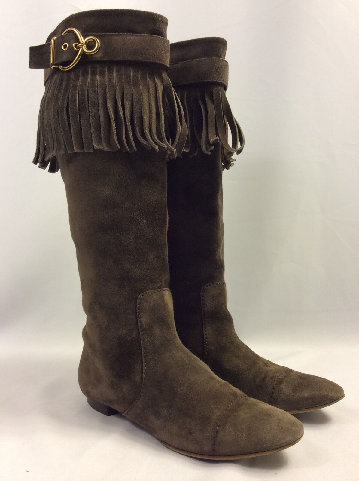 LOUIS VUITTON Dark Brown Suede Pull On Boots Fringe Trim and Gold Buckle Sz 36.5